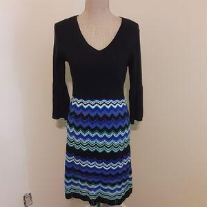 Cato black & blue a line sweater dress size small